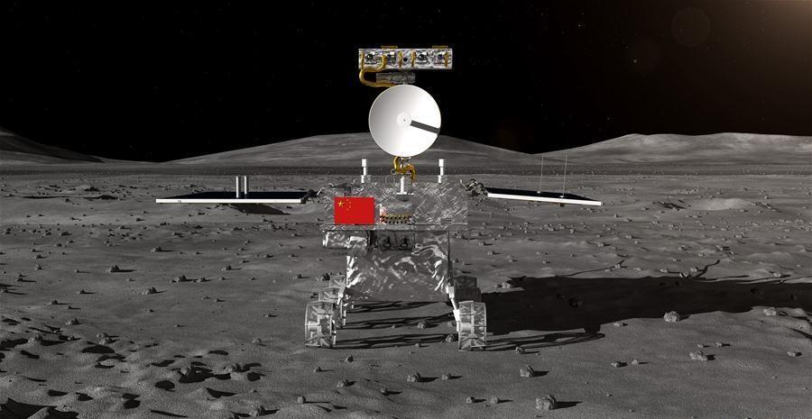Vue d'artiste de l'alunisseur de la sonde Change'e-4, qui a atterri sur la Lune début janvier : on voit le module sur le sol lunaire, arborant un drapeau chinois.