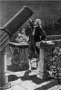 Gravure en noir et blanc qui représente William Herschel en compagnie de sa sœur Caroline, également astronome. Il sont sur une terrasse à côté d'un télescope.