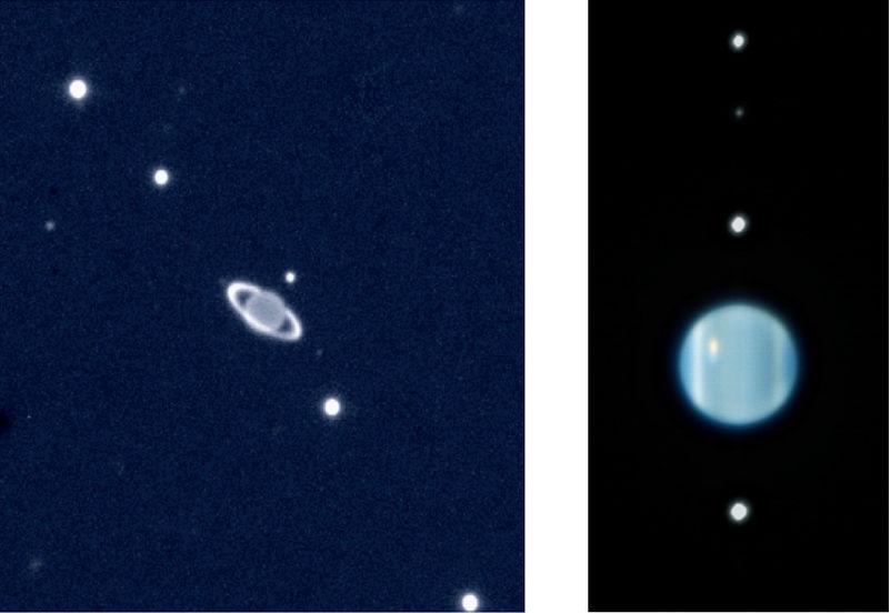 Deux images du système uranien : on y voit la planète entourée de ses satellites. Sur l'image de gauche, elle a des anneaux, pas sur celle de droite, plus zoomée.