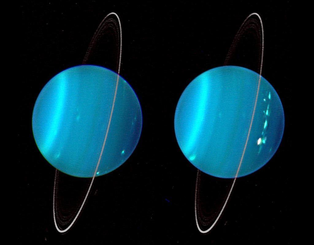 """Les deux hémisphères d'Uranus en infrarouge vus par le Keck Observatory : on y voit les deux """"faces"""" d'Uranus en bleu ciel et ses fins anneaux en blanc."""