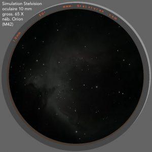 Simulation vision nébuleuse d'Orion M42 avec STELESCOPE 130