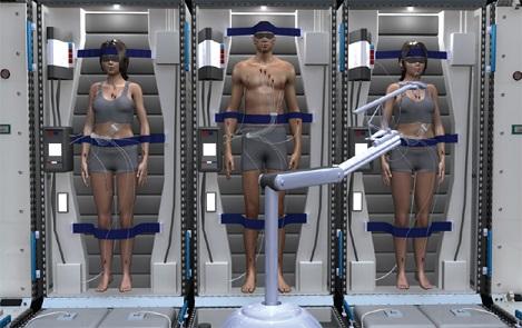 Trois astronautes debout et intubés sont représentés en train d'hiberner dans des caissons futuristes, en images de synthèse.