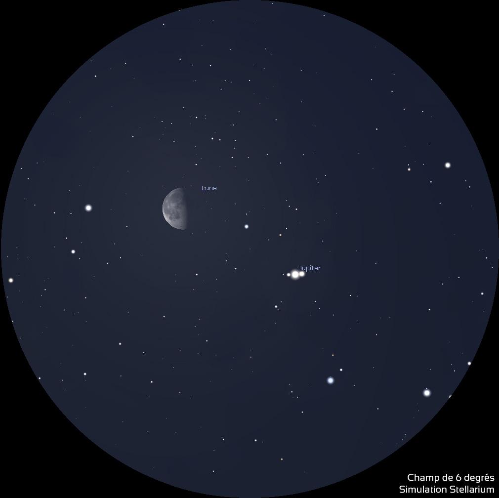 Illustration du rapprochement entre la Lune et Jupiter le 27 mars 2019
