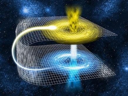 Dessin d'un trou de ver : on voit l'espace courbé, le chemin long qui suit toute la courbure de l'espace et le raccourci du trou de ver qui relie comme les deux parties d'un feuille de papier plier qui représente l'espace.