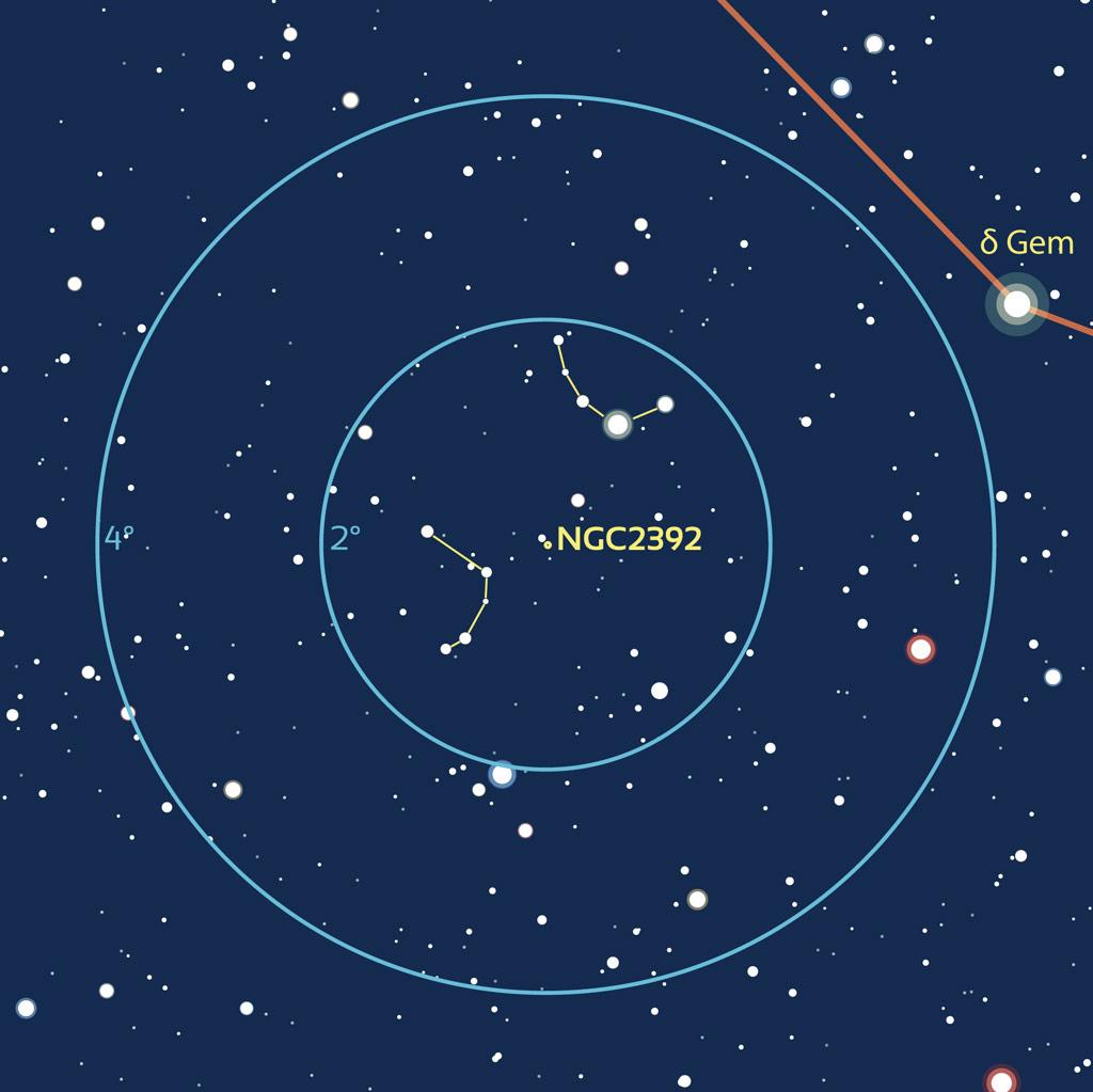 Carte zoom de repérage pour NGC2392