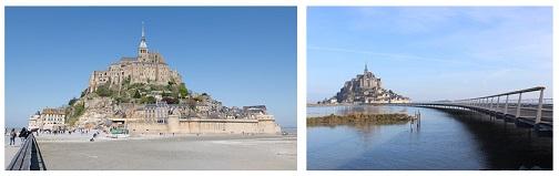 Le Mont Saint Michel à marée basse sur une première image à gauche, par beau temps, et à marée haute sur une deuxième image à droite, aussi par beau temps.