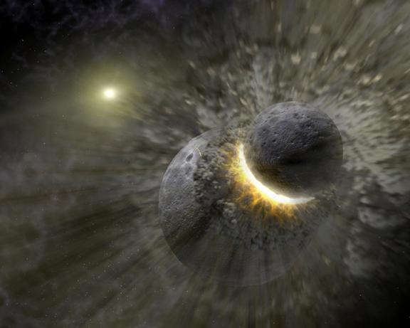 On y voit un corps gris foncé de la taille de Mars entrant en collision avec la Terre en formation avec en fond l'étoile Véga.