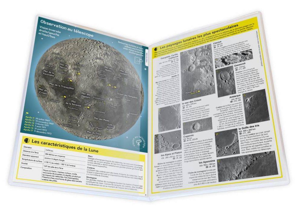 Illustration de l'intérieur du dépliant de la Carte de la Lune