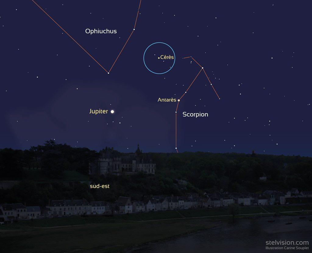 Représentation de la position de l'astéroïde Cérès le 23 mai 2019.