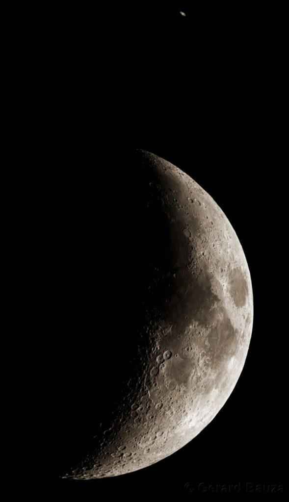 Photo du rapprochement Lune Saturne le 31 août 2014.