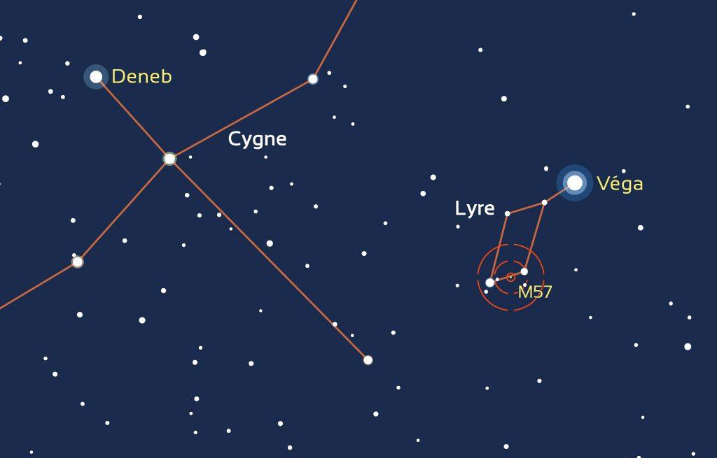 Carte de repérage de la constellation de la Lyre et de M57.
