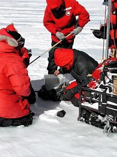 Scientifiques en doudounes rouges et noires sur la banquise, détecteurs de métaux en main, à la recherche de météorites.