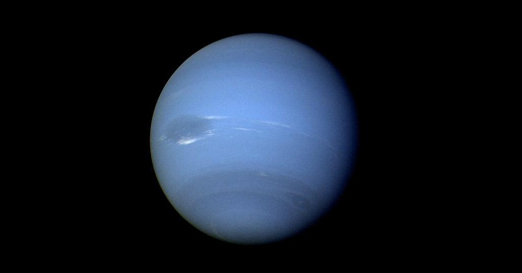 Image de la planète Neptune, photographiée le 16 août 1989 par la sonde Voyager 2.