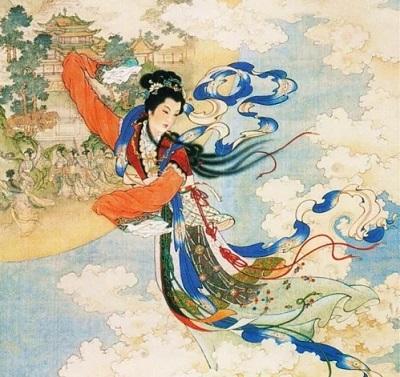 Peinture qui représente la déesse chinoise de la Lune Chang'e : elle a la Lune et le ciel bleu en fond et est représentée avec des cheveux noirs et une longue robe dans les tons rouge, bleu et vert.