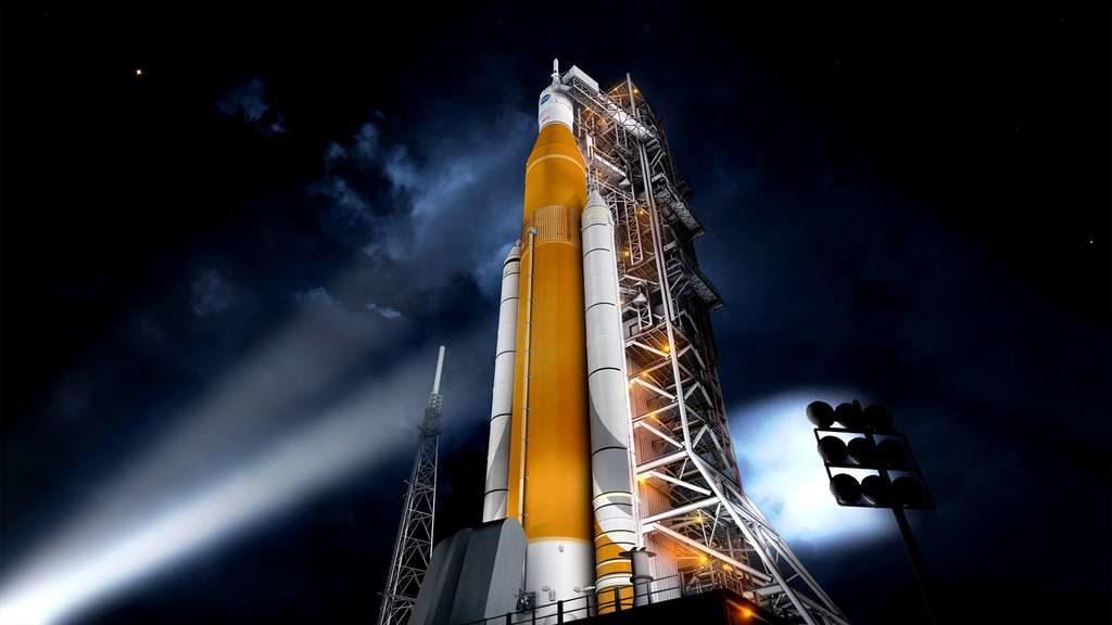 Dessin du lanceur SLS vu de nuit? Il est allumé par des projecteurs, on le voit en contre-plongée, représenté en blanc et jaune foncé.