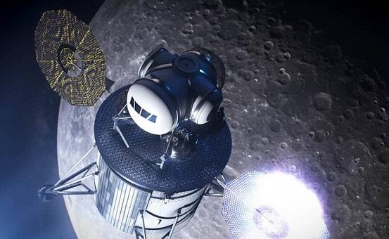 Vue d'artiste d'un engin permettant de faire atterrir les astronautes d'Artemis sur la Lune : on voit ce module en orbite basse autour de la Lune.