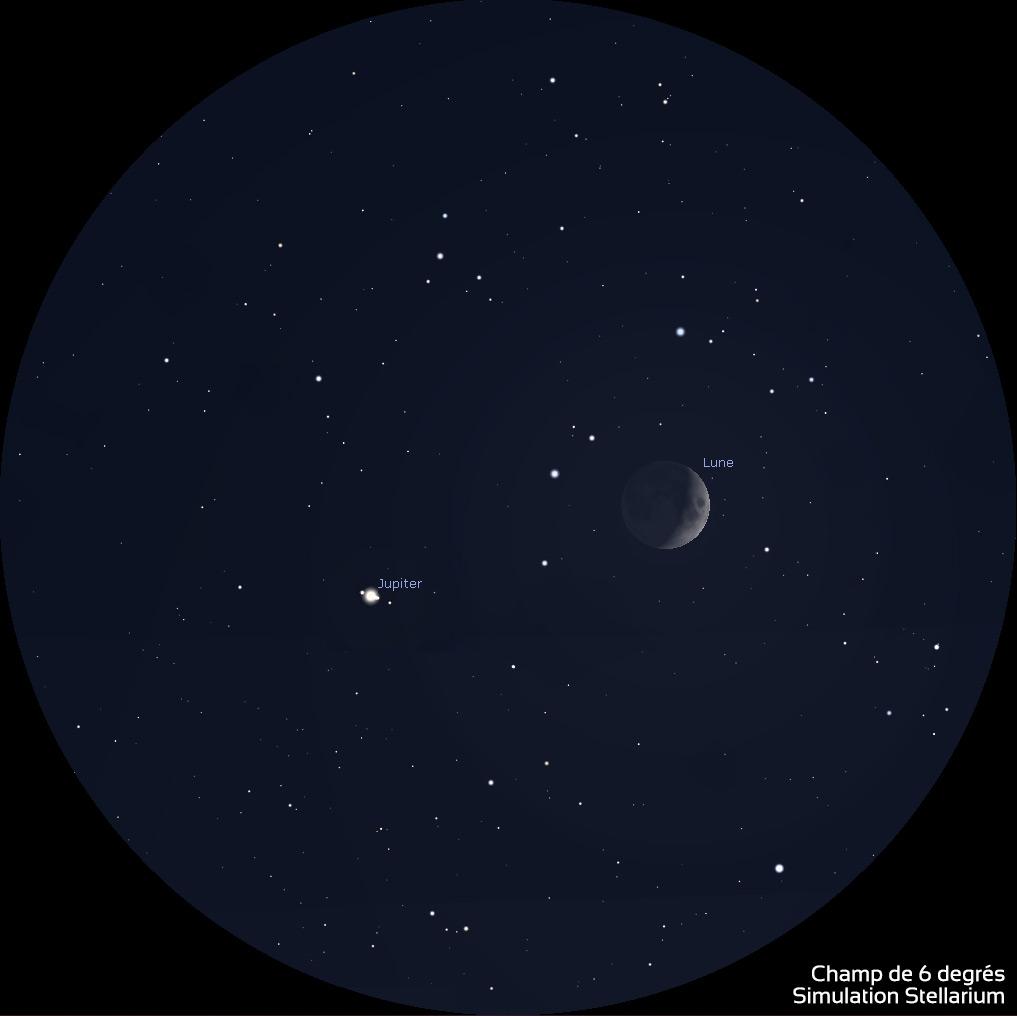 Illustration tirée de Stellarium montrant la Lune et Jupiter aux jumelles 10x50 le 3 octobre 2019.