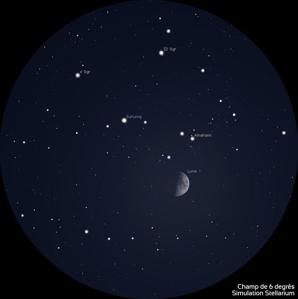 Illustration tirée de Stellarium montrant la Lune et Saturne aux jumelles 10x50 le 5 octobre 2019.