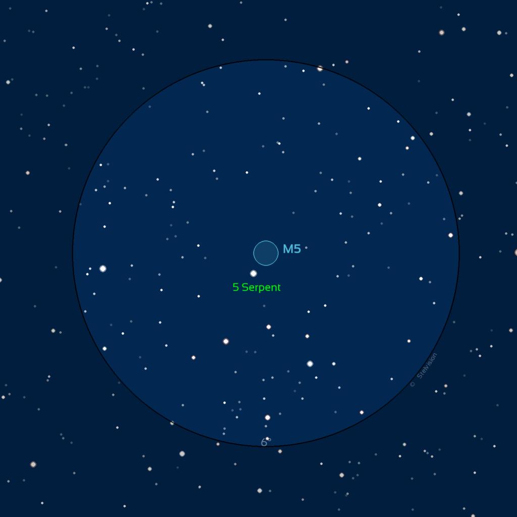 Carte du champ de M5 observé avec des jumelles ou un easyScope.