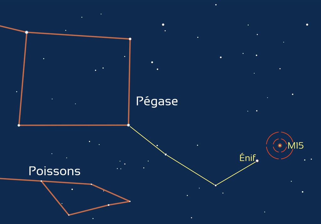 Carte de repérage de l'amas globulaire M15, situé dans la constellation de Pégase.