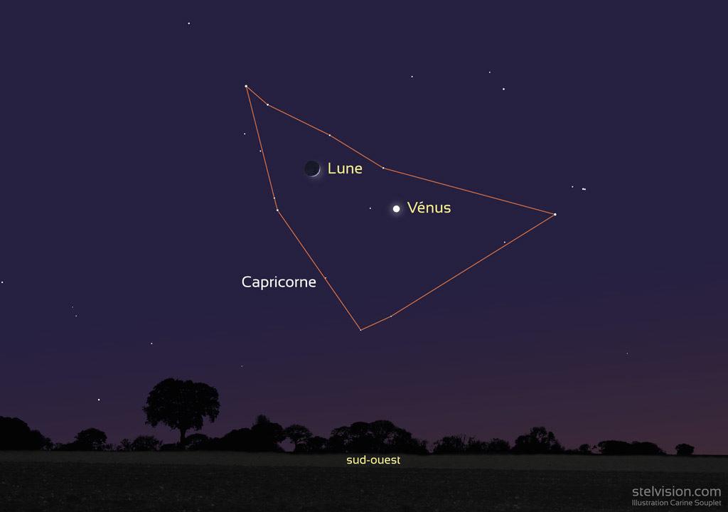 Illustration montrant la position de la Lune et de Vénus le 29 décembre 2019 vers 18h (heure de Paris), au cœur de la constellation du Capricorne.