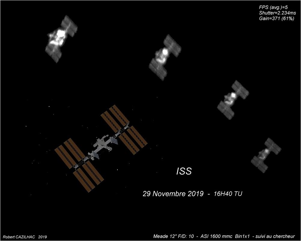 Exemple d'image de l'ISS saisie par l'astronome amateur Robert Cazilhac, le 29 novembre 2019. Une représentation de l'ISS en image de synthèse sert de comparaison.