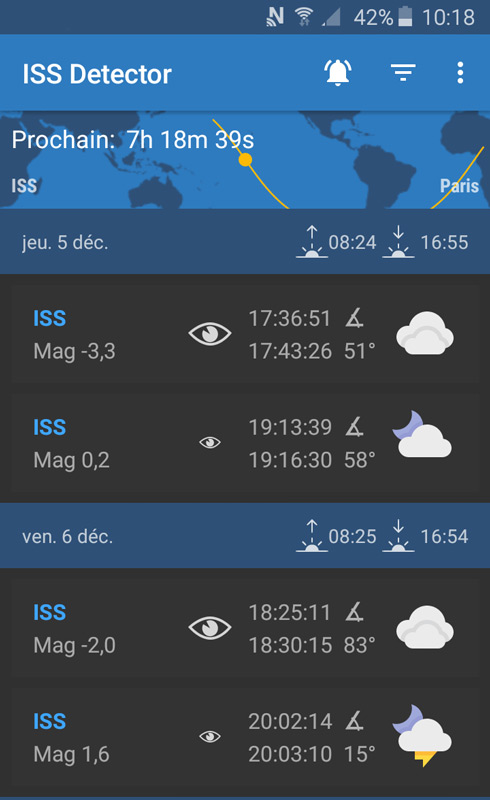 Capture d'écran de l'application ISS Detector (liste des passages d'ISS).