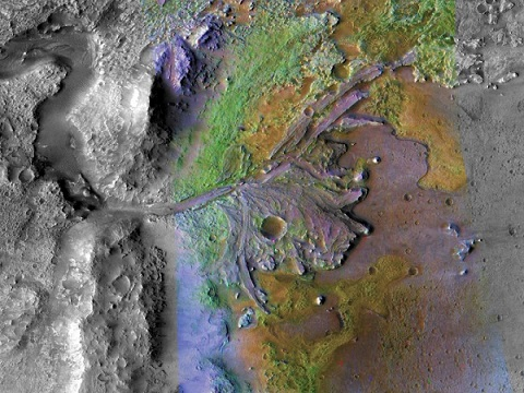 Vue de desus du cratère Jezero où va se poser Mars 2020.
