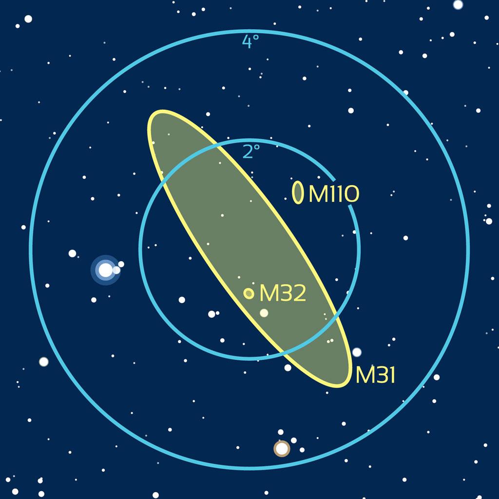 Carte de repérage aux instruments de M31 et des galaxies satellites M32 et M110 dans Andromède.