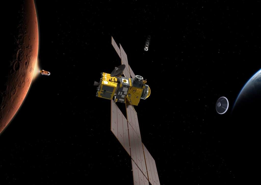 Vue d'artiste de la mission de retour d'échantillons développée par la Nasa et l'Esa : on voit à gauche Mars avec une mini fusée qui décolle emportant les échantillons, vers une sonde en orbite qui devra les réceptionner.