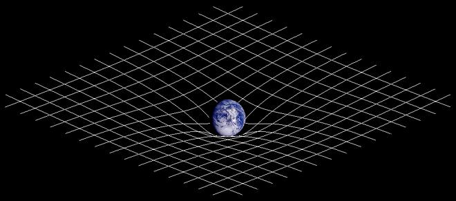 Déformation de l'espace en présence de masse. Crédit : Johnstone/wikimedia