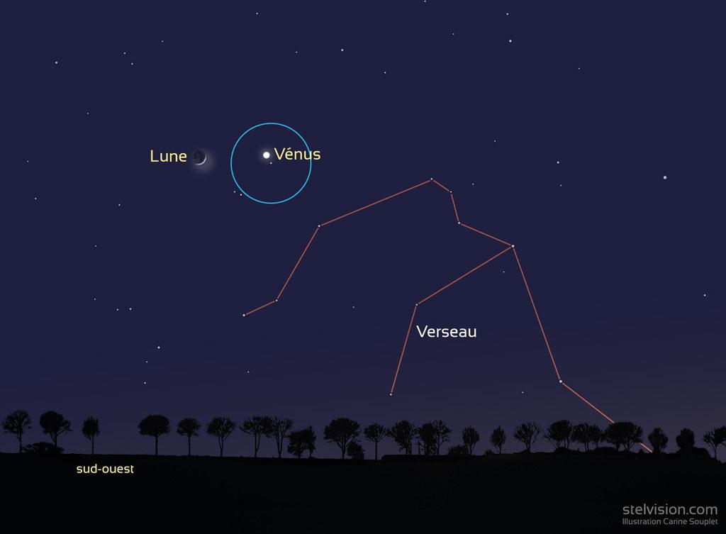 Illustration montrant la position de la Lune et de Vénus le 28 janvier 2020 vers 19h (heure de Paris).
