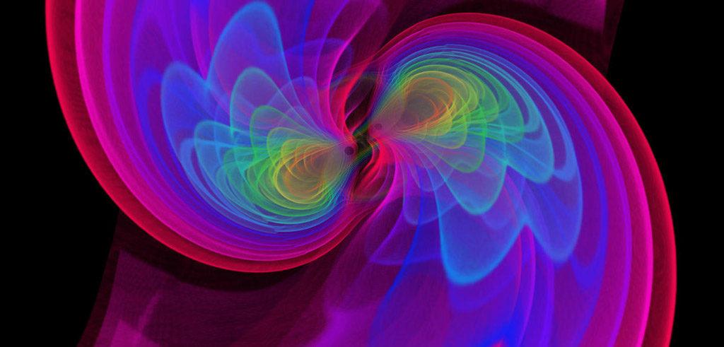 Vue d'artiste de deux trous noirs qui, en fusionnant, émettent des ondes gravitationnelles. crédit: CNRS, Numerical-relativistic Simulation: S. OSSOKINE, A. BUONANNO (Max Planck Institute for Gravitational Physics). Scientific Visualization : W. BENGER (Airborne Hydro Mapping GmbH)