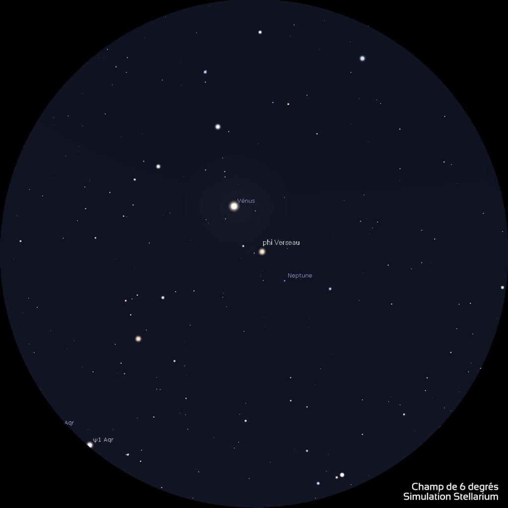 Position de Vénus et Neptune le 28 janvier 2020 vers 19h (heure de Paris) à travers une paire de jumelles 10x50.