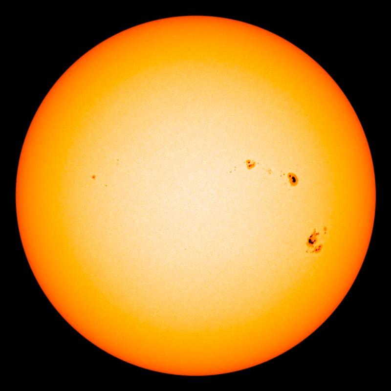 Photo showing sunspots, taken by NASA's SDO satellite