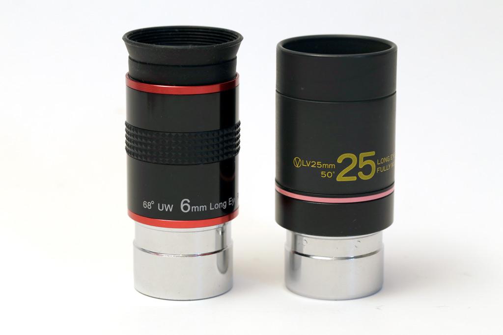 photo d'un oculaire de 6 mm et d'un oculaire de 25 mm