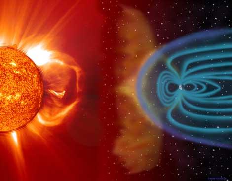 Vue d'artiste qui montre le Soleil à gauche de l'image, duquel s'échappe une émission de particules et champ magnétique de couleur rouge orange, une tempête solaire. On voit qu'elle se dirige vers la droite de l'image où se trouve la Terre, entourée de sa magnétosphère protectrice.