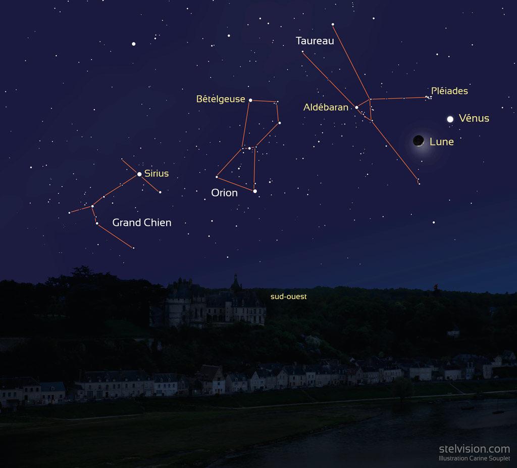Aspect du ciel vers 20h30 (heure de Paris) le 28 mars 2020, vers le sud-ouest. On voit les constellations du Grand Chien, d'Orion, du Taureau, Vénus et la Lune.