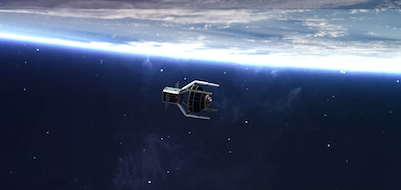 Vue d'artiste sur fond de ciel étoilé bleu foncé du satellite nettoyeur ClearSpace-1 avec ses quatre bras vers l'avant et un bout de Terre en arrière plan en haut de l'image.