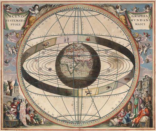 Schéma qui représente les 55 sphères du système d'Aristote, représentation de l'Univers en couleurs marron.