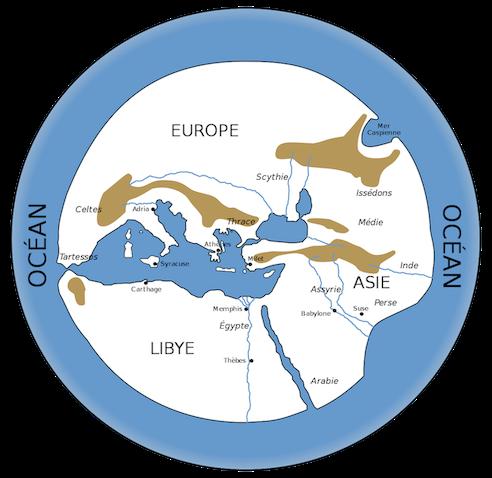 Carte du monde au VIe siècle av. J.-C. : on voit un cercle bleu (océan), sur lequel au centre sont regroupées les terres en blanc, principalement Europe, Asie et Lybie.