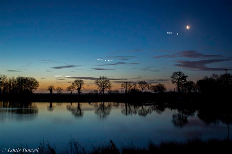 Photo montrant la Lune, Mars, Jupiter et Saturne dans le ciel du matin au dessus d'un lac. Photo de Louis Rouxel