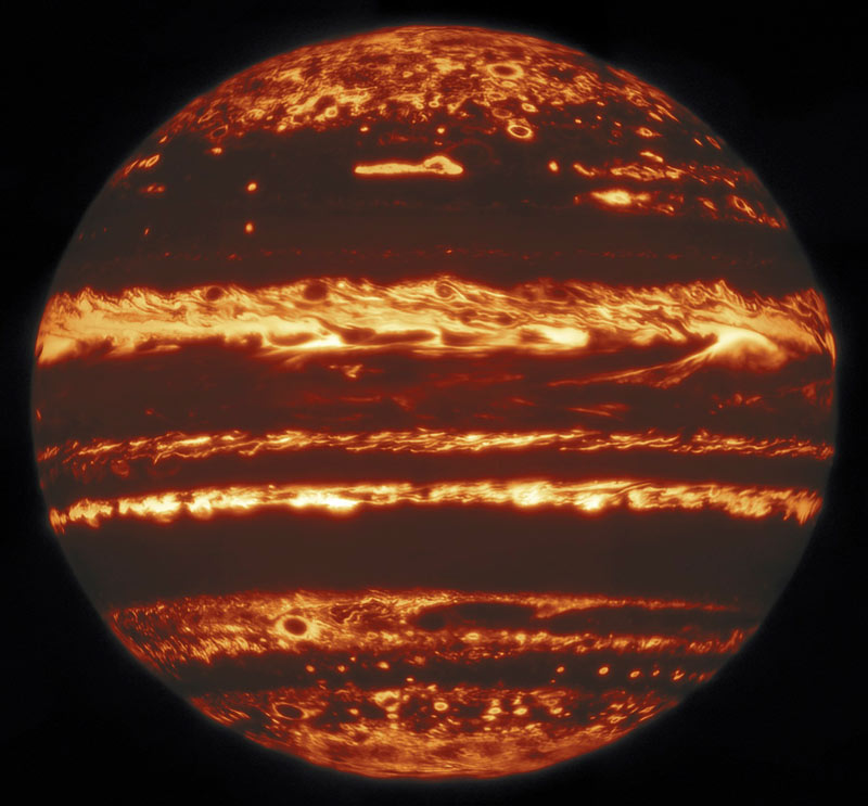 Image showing Jupiter's atmosphere captured in infrared light from the Gemini telescope in Hawaii.
