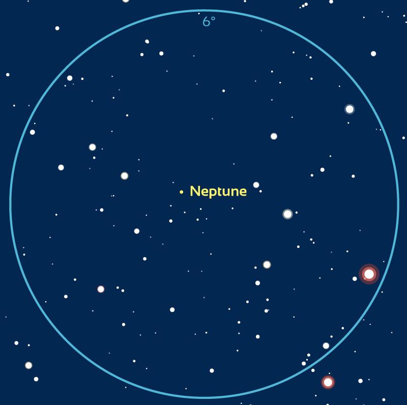 Carte de repérage de Neptune dans la nuit du 22 au 23 juillet 2020. Pour les autres dates, la position est légèrement différente. Le cercle bleu correspond au champ d'une paire de jumelles de type 10x50 (6°). Notez que l'étoile rougeâtre près du bord de champ au sud-ouest est visible à l'œil nu.