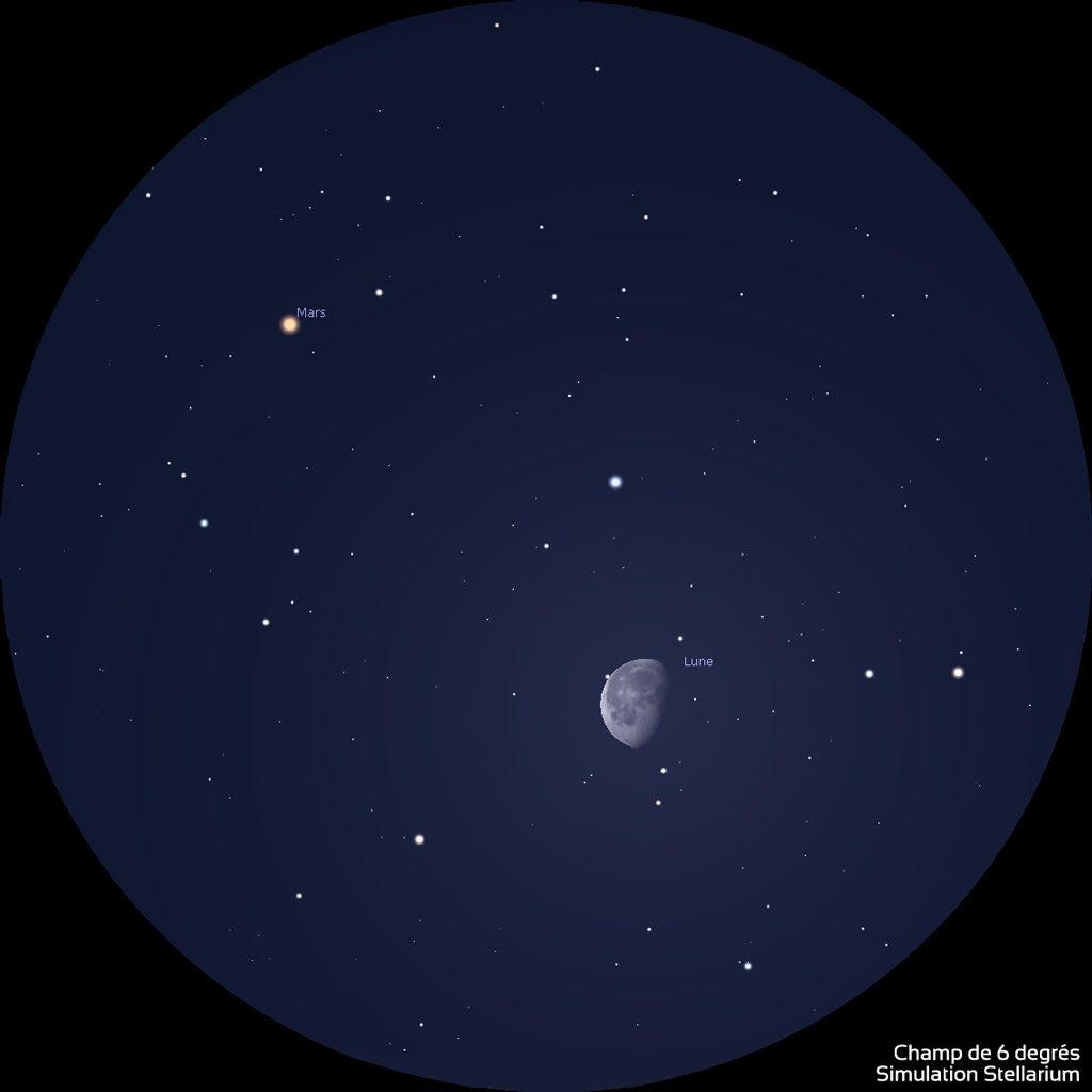La Lune et Mars vues dans le champ d'une paire de jumelles, vers 5h45 heure de Paris. Les deux astres sont visibles ensemble et ne sont séparés que de 3° environ. La Lune a un aspect gibbeux, Mars est orangée.