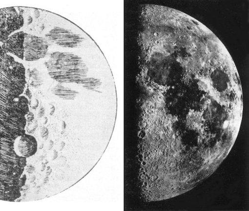 Croquis de la Lune par Galilée, sans doute dessiné au crayon gris ou noir sur fond blanc. On y voit la Lune éclairée de moitié par un rayonnement solaire provenant de la droite de l'image. Plusieurs cratères sont représentés.