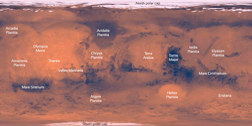 Map of the surface of Mars with key