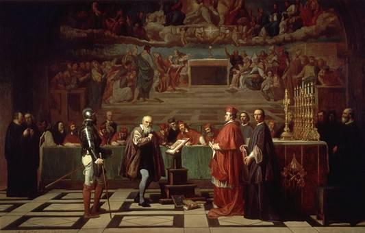 Peinture représentant le procès de Galilée : on y voit l'astronome habillé de collants gris et d'une cape marron, plaidant sa cause devant un religieux en habit route et surveillé par un garde. Les jurés sont attablés en arrière-plan.