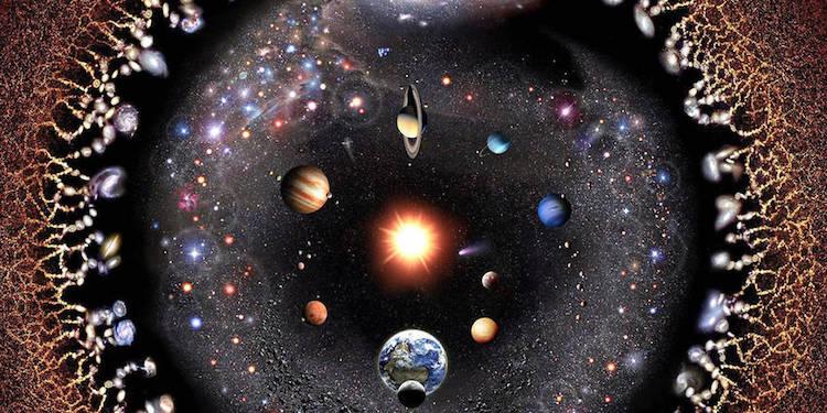 Vue d'artiste du cosmos. L'image est au format paysage rectangle mais en entier elle représente des cercles concentriques entiers avec le Soleil au centre, les planètes autour, puis diverses étoiles lointaines et enfin un autre cercle de galaxies reliées à des filaments qui partent de tout autour du dessin.