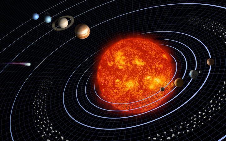 Vue d'artiste du Système solaire avec le Soleil en gros au centre en couleur rouge orangé, et les autres planètes autour avec leurs orbites tracées en bleu. Vue de dessus.